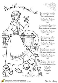 """""""Gentil coquelicot"""" printable coloring page and song lyrics Songs For Teachers, Kids Songs, How To Speak French, Learn French, Hana, French Poems, French Nursery, French Expressions, French Tips"""
