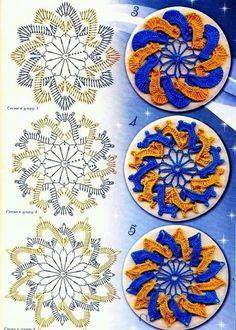 3 Celtic / Interwoven Crochet Motifs with pattern charts Motif Mandala Crochet, Crochet Motifs, Crochet Blocks, Crochet Diagram, Crochet Chart, Crochet Squares, Thread Crochet, Crochet Doilies, Crochet Flowers
