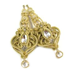 Soutache earrings wedding bridal jewelry made to by byPiLLowDesign