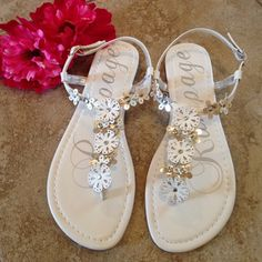 White sandals White /silver sandals with flowers..cute all summer!! Rampage Shoes Sandals