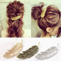 Vouge Women Leaf Feather Hair Clip Hairpin Barrette Bobby Pins Hair Accessory in Clothing, Shoes & Accessories, Women's Accessories, Hair Accessories Bobby Pin Hairstyles, Vintage Hairstyles, Wedding Hairstyles, Fashion Hairstyles, Short Hairstyles, Hair Tiara, Hair Comb, Hair Accessories For Women, Women Jewelry