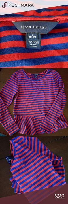Ralph Lauren Like new. Girls. Red and blue long sleeve peplum. Great for year round. Ralph Lauren Shirts & Tops Blouses