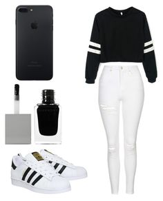 """Black&White"" by cortez-brendaa on Polyvore featuring Topshop, adidas and Givenchy"