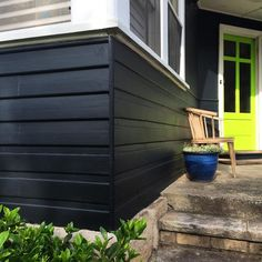 @siobhanrogers_beaspoke Exterior House colour Black Fox by Taubmans paints and Effervescent Lime by Dulux Paints