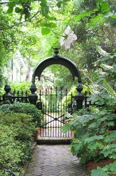 Love this striking Black gate and fence in this glorious garden Landscape.