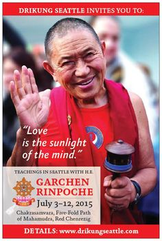 "His Holiness the Dalai Lama is quoted in the film ""The Yogis of Tibet"" as saying that His Eminence Garchen Rinpoche is one of the last remaining Tibetan yogis in the world. HE Garchen Rinpoche will teach in Seattle at North Seattle College July 4-12, 2015. Registration for the program is now open online. Rinpoche is the subject of the film, ""For the Benefit of All Beings."" See: www.drikungseattle.com  tags: Tibetan Buddhism, Seattle Buddhism, Buddha, meditation, Drikung Kagyu"