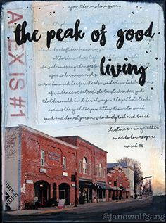 The Peak of Good Living (Apex, NC) by Jane Wolfgang Mixed Media ~ 12 x 9