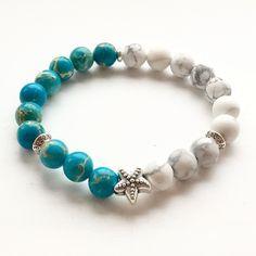 Starfish Bracelet Regalite Jasper & Howlite Natural Stone Beads Made In Uk