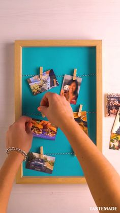 DIY Picture Frame - Organize all your polaroids with this DIY picture frame. Best Picture For diy furniture For Your - Diy Craft Projects, Diy Crafts For Home Decor, Diy Crafts Hacks, Easy Diy Crafts, Cute Picture Frames, Picture Frame Crafts, Paper Photo Frame Diy, Photo Frame Ideas, Diy Photo Frame Cardboard