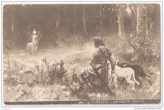 """Alte Ansichtskarten """"W. Räuber Die Bekehrung des Hubertus"""" Russia Beginning of the XX."""