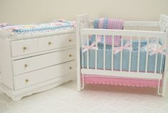 Image detail for -Dollhouse Miniature Furniture Baby Crib Changing Table Dresser Pink ...