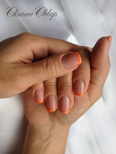 Orange French with possible black party nail?? Giants nails!!!
