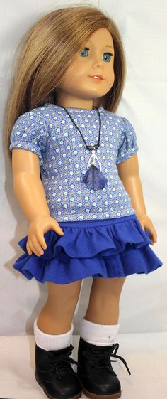 American Girl Doll clothes- Ruffled Skirt, Shirt and Necklace