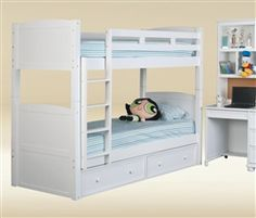 Nathan White Wood Square Post Twin Bunk Bed
