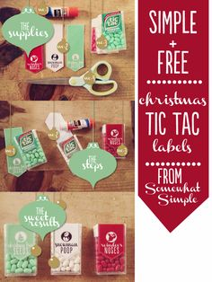 Download these simple + adorable Tic Tac Christmas labels for FREE at Somewhat Simple!