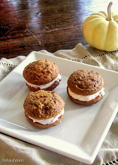 Pumpkin Spice Whoopie Pies with Cinnamon Cream Cheese Frosting | Recipe from Bakerita.com