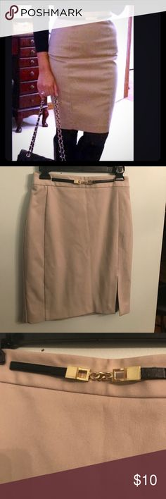 Express tan lined built in belt No flaws Express Skirts