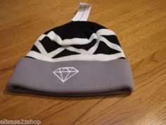 Men's RARE Diamond supply CO surf skate grey white black beanie knit hat cap NEW