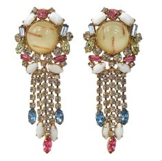 VINTAGE HOBE RARE HUGE DANGLE MULTI-STONE EARRINGS, ca 1950's/60's