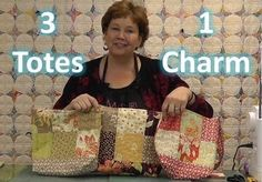 Jenny Doan demonstrates how nifty charm packs are by making three totes/purses out of a single charm pack!