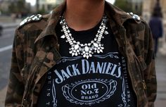 love the graphic tee + crystal necklace... a great combination.