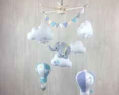 Baby mobile - elephant mobile - hot air balloon mobile - gender neutral - cloud mobile - nursery decor - travel nursery