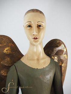 "my angel   33"" Santos Style Folk Art Angel, Tin Skirt w/ Removable Wings"
