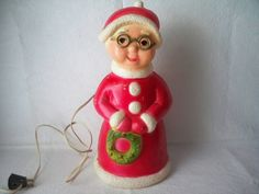 1950s Vintage Electric Hard Plastic Mrs. Santa Claus Christmas Decoration made in USA by Union Product Inc from Lemominster MA USA by VintageFindsbySuzi on Etsy