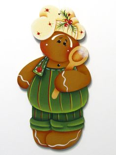 Gingerbread Boy Chef Ornament Christmas by ToleTreasures on Etsy Christmas Gingerbread Men, Gingerbread Ornaments, Gingerbread Decorations, Wood Ornaments, Christmas Love, Christmas Crafts, Christmas Ornaments, Christmas Canvas, Design Crafts