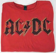 Vintage AC/DC Red Black Graphic Original Tultex 100% Cotton T Shirt Men's Size L #Tultex #GraphicTee