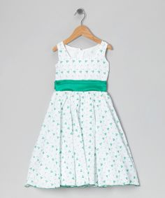 White & Green Vine Dress - Infant, Toddler & Girls by Kid Fashion #zulily #zulilyfinds