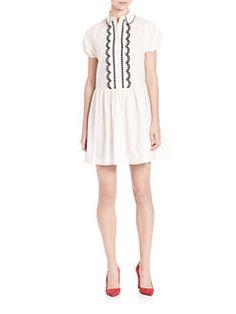 RED Valentino - Poplin Scallop-Trim Dress