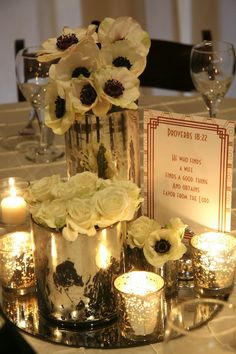 Great Gatsby Inspired Wedding Centerpiece at Deity Brooklyn Wedding Venue #brooklynwedding #brooklynweddingvenue #weddingflowers
