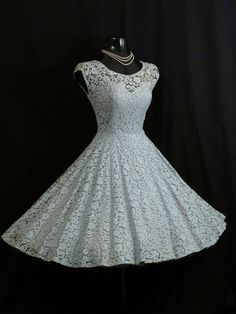 Vintage 1950's 50s Baby BLUE Lace Sequins Pearls Prom Party Wedding DRESS in Clothing, Shoes & Accessories