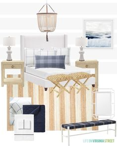 A coastal bedroom design moodboard featuring a white upholstered bed frame along with blue, white and neutral accents. Post includes a lot of other wood, cane and upholstered beds that would work well in a variety of bedrooms!