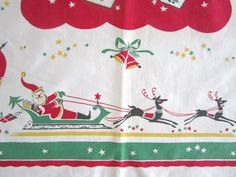 RARE Vintage Tablecloth Christmas Santa Claus by NeatoKeen on Etsy
