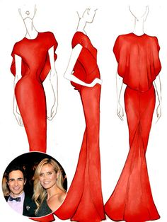 Emmys 2014 Gowns: Heidi Klum in Zac Posen, Heidi Klum Red Dress #Emmys2014 #RedCarpet