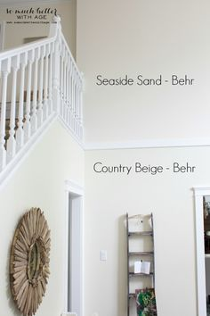 Neutral foyer before and after / Behr pain - So Much Better Wth Age Behr Paint Colors, Behr Neutral Paint Colors, Colorful Interiors, Living Room Paint, Living Room Colors, Paint Colors For Living Room, Bedroom Paint, Behr Paint, House Colors