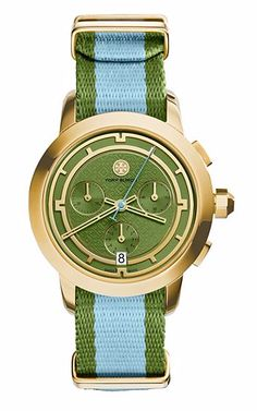 Tory Burch stripe gold watch