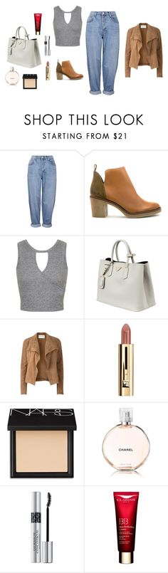 """""""M"""" by butnotperfect ❤ liked on Polyvore featuring Topshop, Miista, Miss Selfridge, Prada, Amanda Wakeley, NARS Cosmetics, Christian Dior and Clarins"""