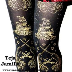 Gold on Black Womens Tattoo Tights - High Seas