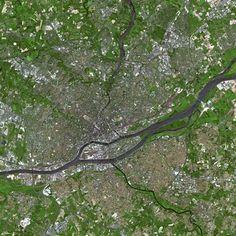 City satellite view (Nantes, France).
