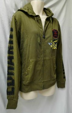Womens ED HARDY Rock N Roll Tour HOODIE sz M Olive Nailheads.  Retails for $175.  Christmas special - $55 + s/h. Click picture to see more details.