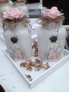 Flessen bewerkt met een mooi servet.