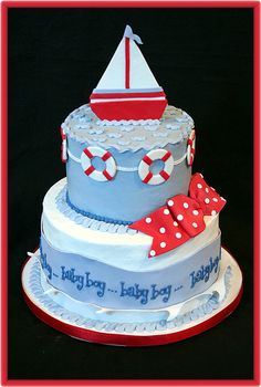 Sailboat Baby Shower Cake or even a birthday cake. uber cute!