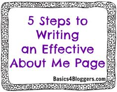 "Writing an About Me Page - ""To give first-time visitors a little more info about you, link to some of your favorite posts. This gives them a taste of your writing style as well as lets them get familiar with the topics you blog about."""