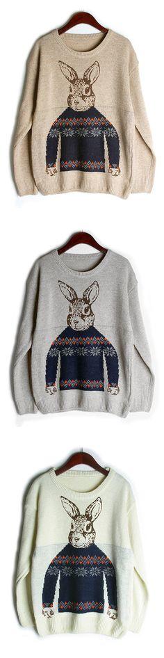 [Newchic Online Shopping] 50%OFF Casual Sweaters   Sweaters With Long Sleeves   Sweaters With Rabbit Pattern   O-neck Sweaters   Sweaters for Women #sweaters #womensfashion #winterfashion