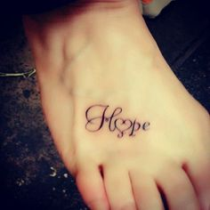 See more Hope and heart tattoos on feet