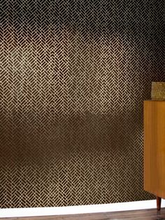Tapet Cafe Tile 001 brown/gold (Tapet Cafe Tile 001) - Erica Wakerly Wallpapers - A complex brown/gold tile design in shapes of squares and rectangles. Other colour ways available. Please request a sample for true colour match. Paste-the-wall product. Pattern repeat 53cm.