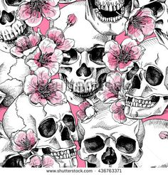 Image result for skull designs with flowers
